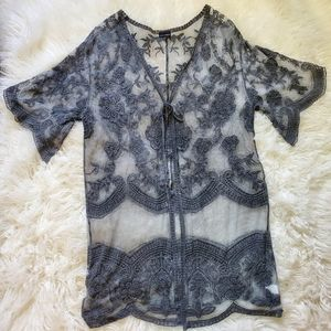 Coco + Carmen sheer lace kimono cardigan